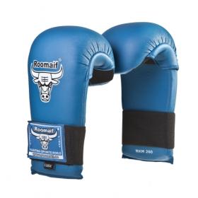 Спарринговые перчатки для каратэ RKM-260 ПУ синие