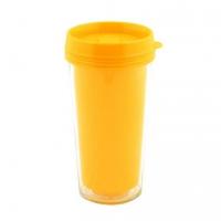 Пластиковый термостакан под полиграфическую вставку, желтый