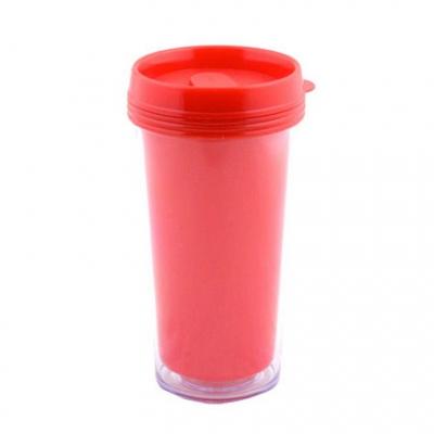 Пластиковый термостакан под полиграфическую вставку, красный.
