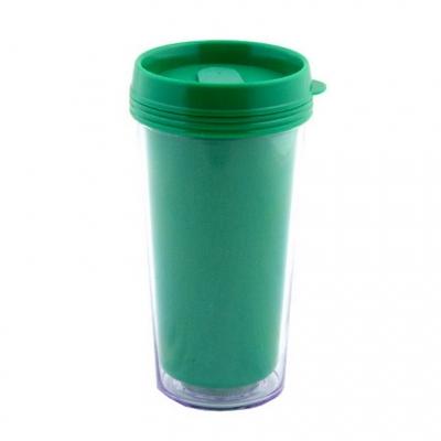 Пластиковый термостакан под полиграфическую вставку, зеленый.