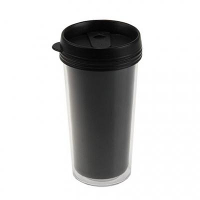 Пластиковый термостакан под полиграфическую вставку, черный