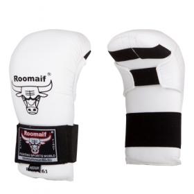 Спарринговые перчатки для каратэ RKM-260 ПУ белые