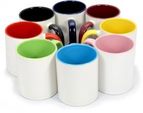 Кружка белая ПРЕМИУМ, цветная внутри и с цветной  ручкой под сублимацию