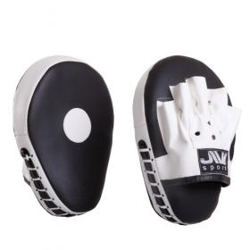 Лапы боксерские гнутые (иск. кожа) Е054 черно-белые