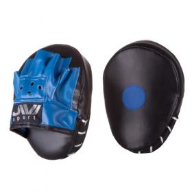 Лапы боксерские гнутые (иск. кожа) Е077 черно-синие