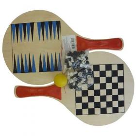 Набор 3 в 1: пляжный тнннис, шахматы, нарды ТСВ