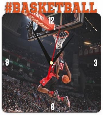 """Металлические часы """"Баскетбол"""" под нанесение 192x243 мм."""