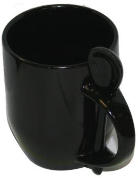 Кружка хамелеон черная с ложкой, черная внутри.