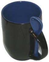 Кружка хамелеон черная с ложкой, синяя внутри.