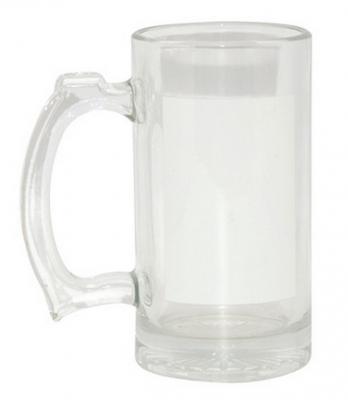 Кружка пивная стеклянная прозрачная 16 OZ с белым полем для нанесения.