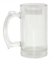 Кружка пивная стеклянная прозрачная 20 OZ с белым полем для нанесения.
