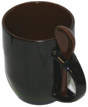 Кружка хамелеон черная с ложкой, коричневая внутри.
