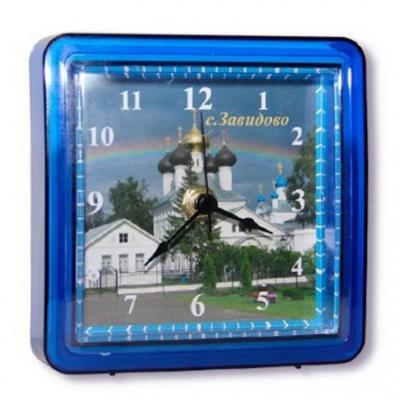 Акриловые часы  под вставку цветной корпус, синие