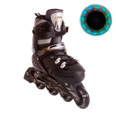 Раздвижные роликовые коньки Flash black светящиеся колеса