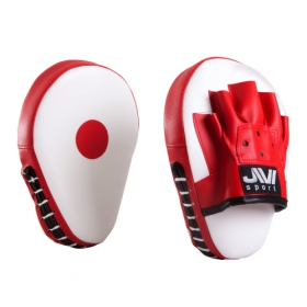 Лапы боксерские гнутые (иск. кожа) Е060 красно-белые