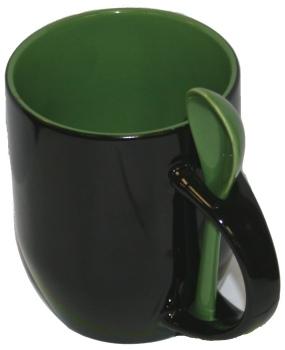Кружка хамелеон черная с ложкой, зелёная внутри.