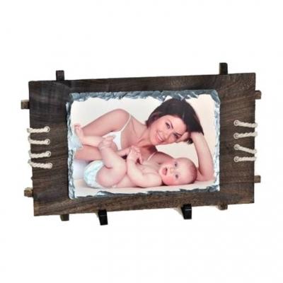 Фотокамень прямоугольный с деревянной рамкой 18*26 см.