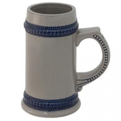 Кружка пивная серая с синим ободом под сублимацию.