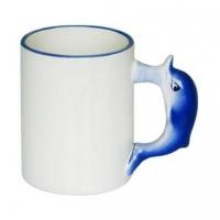 Кружка белая с  дельфином на ручке под сублимацию.
