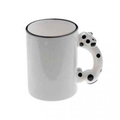 Кружка белая с  собачкой на ручке под сублимацию.