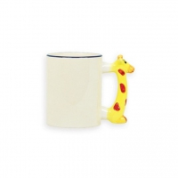 Кружка белая с  жирафом на ручке под сублимацию.