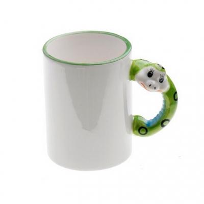 Кружка белая с змейкой на ручке под сублимацию.