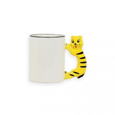 Кружка белая с  тигром на ручке под сублимацию