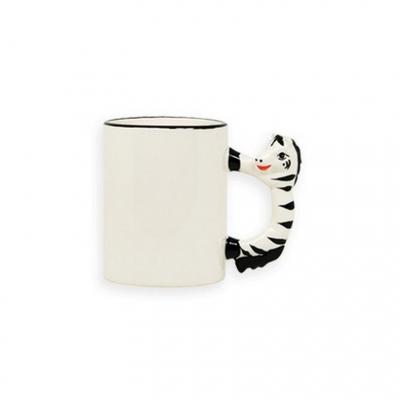 Кружка белая с  зеброй на ручке под сублимацию.