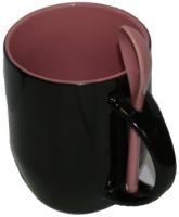Кружка хамелеон черная с ложкой, розовая внутри.