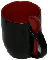 Кружка хамелеон черная с ложкой, красная внутри