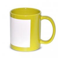 Кружка желтая с белым полем под нанесение.